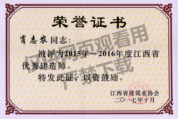 肖志农优秀建造师荣誉证书