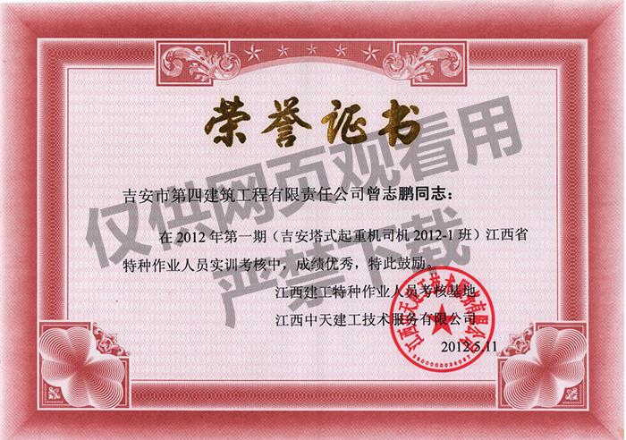 塔式起重机荣誉证书